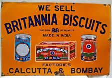 BRITANNIA BISCUITS ADVERTISING SIGN VINTAGE PORCELAIN ENAMEL FOOD COLLECTIBLES