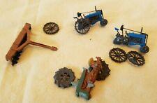 Vintage HO Farm Tractors; 2 Complete, 1 Incomplete, &1 Implement
