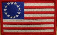 Betsy Ross Flag Patch W/ VELCRO® Brand Fastener Red Border White Stars USA Red