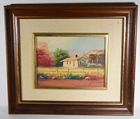 "Vintage 9"" Acrylic Watercolor Painting on Wood Signed Country House Barn Fall"