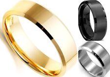 Noble 8MM Titanium Band Wedding Stainless Steel Ring Silver Black Gold Men/Women