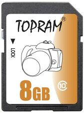 TOPRAM 8GB SD 8G SDHC ultra fast Card C10 Class 10 Memory Card fit GPS Tablet