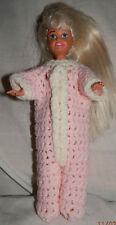 Pink Footy Pajamas Pj's for Courtney Size Fashion Doll - Handmade Crochet