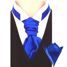 New Italian Plain Satin Cravat For Men With Hanky - Pre Tied