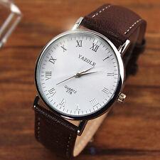 Mens Luxury Fashion Business Classic Leather Quartz Analog Watch Wristwatches