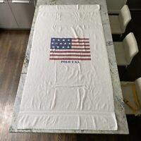 """Rare Vintage RALPH LAUREN Polo USA Flag Bath Beach Towel 90s White 66""""x 35"""""""
