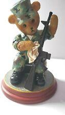 """Hamilton Collection Faithful Fuzzies Army Bear """"Rifle Routine"""" #1643"""