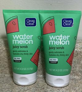 (2) Clean & Clear Water Melon Juicy Scrub, Oil Free Gently Exfoliates Hydrates