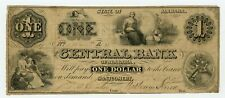 1861 $1 The Central Bank - Montgomery, ALABAMA Note CIVIL WAR Era