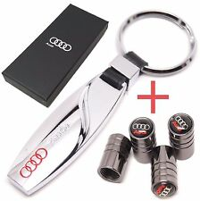 Audi chrome metal key ring + Tyre valve caps in gift box