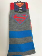 Superman Striped Gray Mens Crew Socks 10-13 NWT