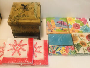 Kitchen Container Rustic Decorative & 7 Packs Of NEW Napkins