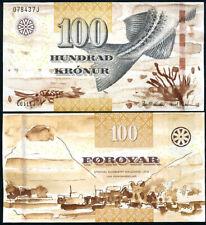 FAEROE ISLANDS 100 KRONUR 2011/2012 P 30 NEW SIGN + SECURITY UNC