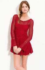 Free People Red Belle Crochet Flare Holiday Sweater Dress Sz M $148 Sold Out
