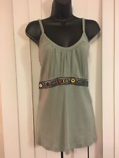 RETRO SPORT Women's Knit Embellished Bustline Fitted Lettuce tank cami Top Sz 1X