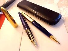 WATERMAN - Edson  blau Set  Füllfederhalter + Kugelschreiber MAKELLOS +Lederetui