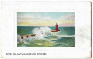 VERY NICE OLD POSTCARD - ROUGH SEA - CASTLE BEAKWATER - GUERNSEY 1906