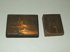 Antique Pair of Printing Blocks - 1914 Quincy Yacht Club and Victorian Design