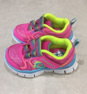 "SKECH APPEAL ""Soft Suds"" Toddler Girl's Neon/Pink Sneakers~~Size 6"