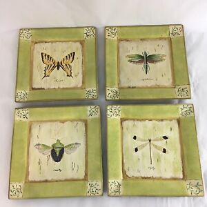"""Tam San Hand Painted 10"""" Square Nature Butterfly Insect Display Art Plates (4)"""