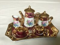 Limoges porcelain miniature tea/coffee set with tray in burgundy and gold