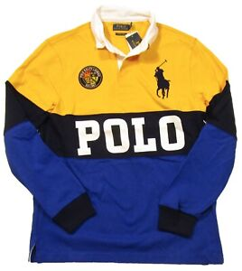 "Polo Ralph Lauren Men's Yellow/Blue Big Pony ""POLO"" Logo Custom Slim Fit Polo"