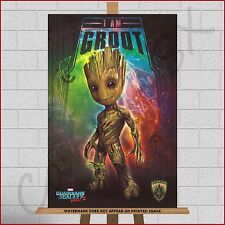 More details for baby groot guardians of the galaxy 2 framed box canvas print a1 a2 a3 30