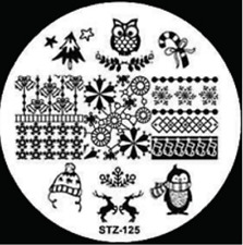 Nail Art Stamping Plates Image Plate Decoration Owls Candy Snow (STZ-125)