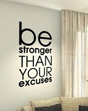 Be Stronger Gym Fit workout Motivation Quote wall vinyl decals stickers Art