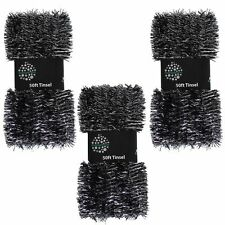 Christmas Tree 3 Packs 50ft x 3cm (150ft) Tinsel GREAT VALUE - Black and Silver