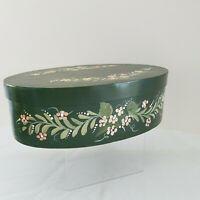 Vintage Wood Oval Shaker Style Finger Lap Pantry Box Hand Painted Signed & Dated