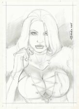 Emma Frost White Queen Sexy Bust Commission - 2004 Signed art by Alex Miranda