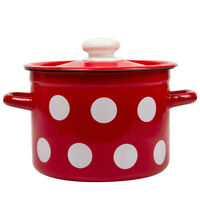 Red Polka Dot Enameled Cooking Pot w/Lid. Durable Stock Pots from Ukraine
