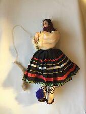 """1950s Vintage Collectible 9"""" Doll Gypsy Euro European Antique Unique Dark hair"""