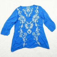 Johnny Was Blue Floral Embroidered Tunic Top Blouse Half Sleeve Womens Sz Small