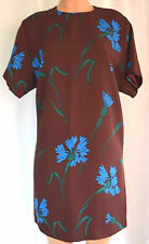 MIU MIU EARTH BROWN FLORAL CREW NECK SHORT SLEEVES DRESS   SIZE 48