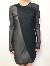 WILLOW black long sleeve sheer detail dress sz 12 silk blend nude underlay