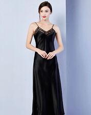 Women's 100% Pure Mulberry Silk Chemise Long Slip Silk Sleepwear M Black White