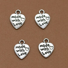 50Pcs Silver/Gold Plated MADE WITH LOVE Heart Charm Pendant Bead New