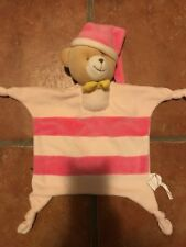 D # Grand Doudou Ours Plat Raye Rose  SANS MARQUE  Gifi? Tbe