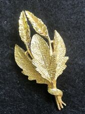 Vintage gold tone leaf style brooch Signed Coro (706)