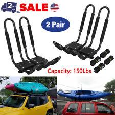 2 Pairs Universal Roof J-Bar Rack Kayak Boat Canoe Car SUV Top Mount Carrier USA