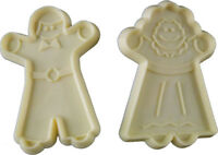"""Boy Girl Doll Cookie Cutters Plastic Ivory Colored Vintage 3 1/4"""" tall Set of 2"""