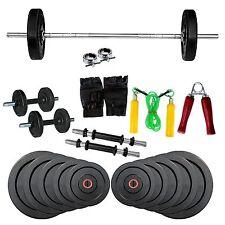 Fitfly Home Gym Set 52Kg Rubber Plate 4Ft Plain Rod Gloves Skipping Dumbbells