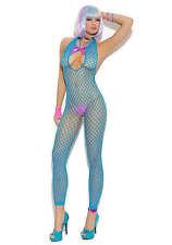 Elegant Moments Neon Blue Crochet Bodystocking - Queen