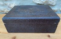 Vintage large Hand Carved Wooden Trinket Box with Lacquered Interior