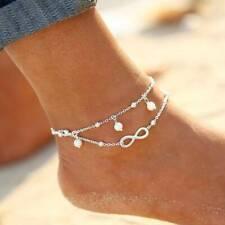 Infinite Good Luck 8-word Silver Alloy Anklet Handmade Beaded