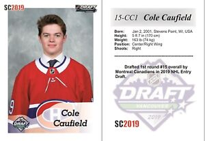 2019 SC #15 Cole Caufield white RC Rookie DRAFT Montreal Canadiens 2018-19