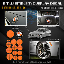 Emblem Sticker Decal Hood Trunk Wheels Steering Fits ALL BMW 4D Carbon Fiber