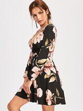 Women Fashion Winter Long Sleeve Sexy Floral Print Surplice Belted Mini Dress